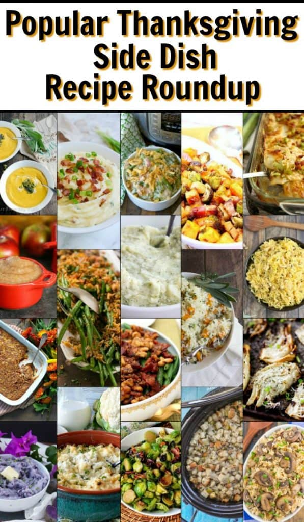 Popular Thanksgiving side dish recipe roundup opening image title text collage.