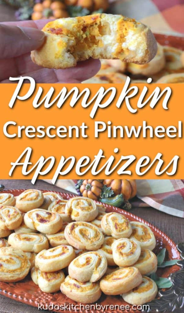 Title text vertical collage image of Pumpkin crescent pinwheel appetizers.