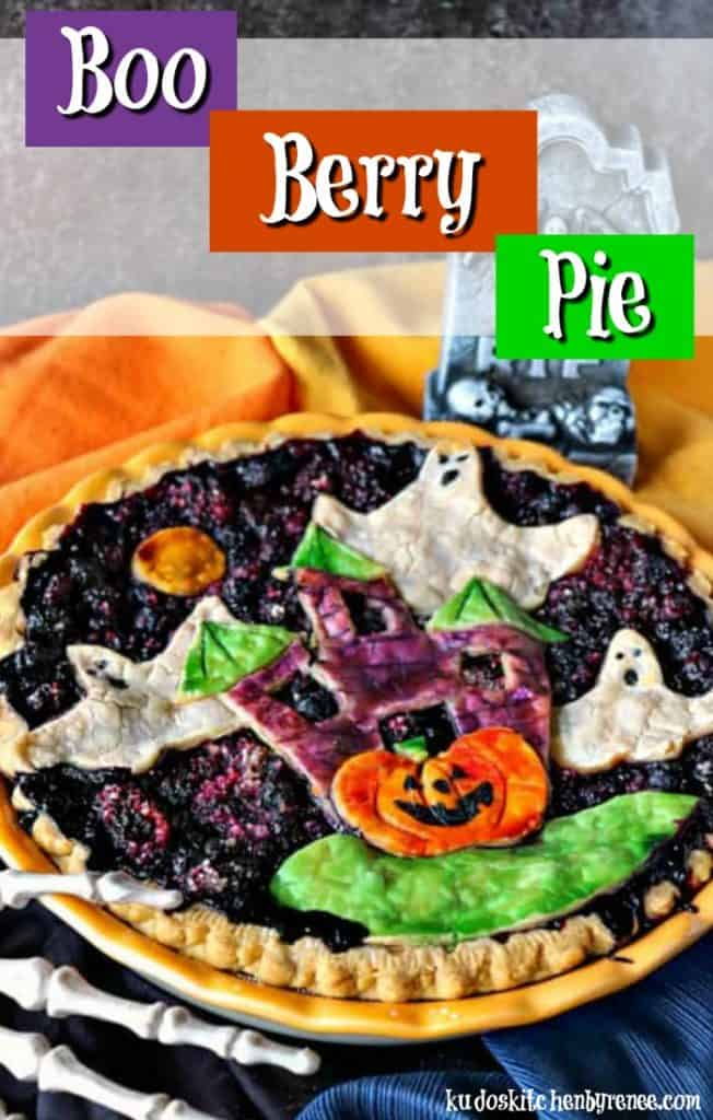 Colorful title text boo berry pie vertical image with a skeleton hand.