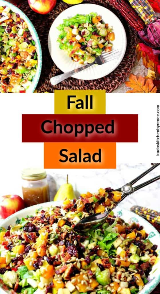 Vertical title text collage of a colorful fall chopped salad with tongs in a big bowl.