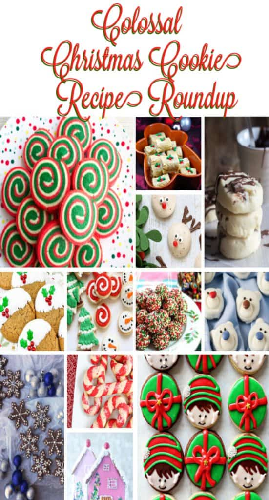 Colossal Christmas Cookie recipe roundup title text collage images.