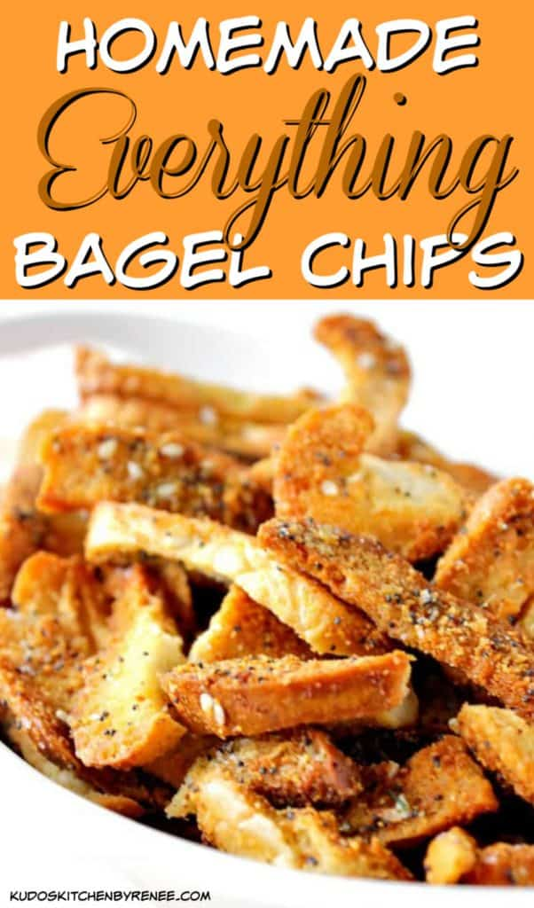 Vertical title text closeup image of everything bagel chips with poppy and sesame seeds.