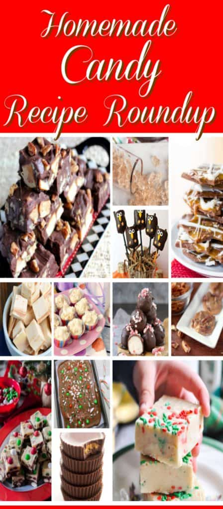 Title text collage image of homemade candy recipe roundup.