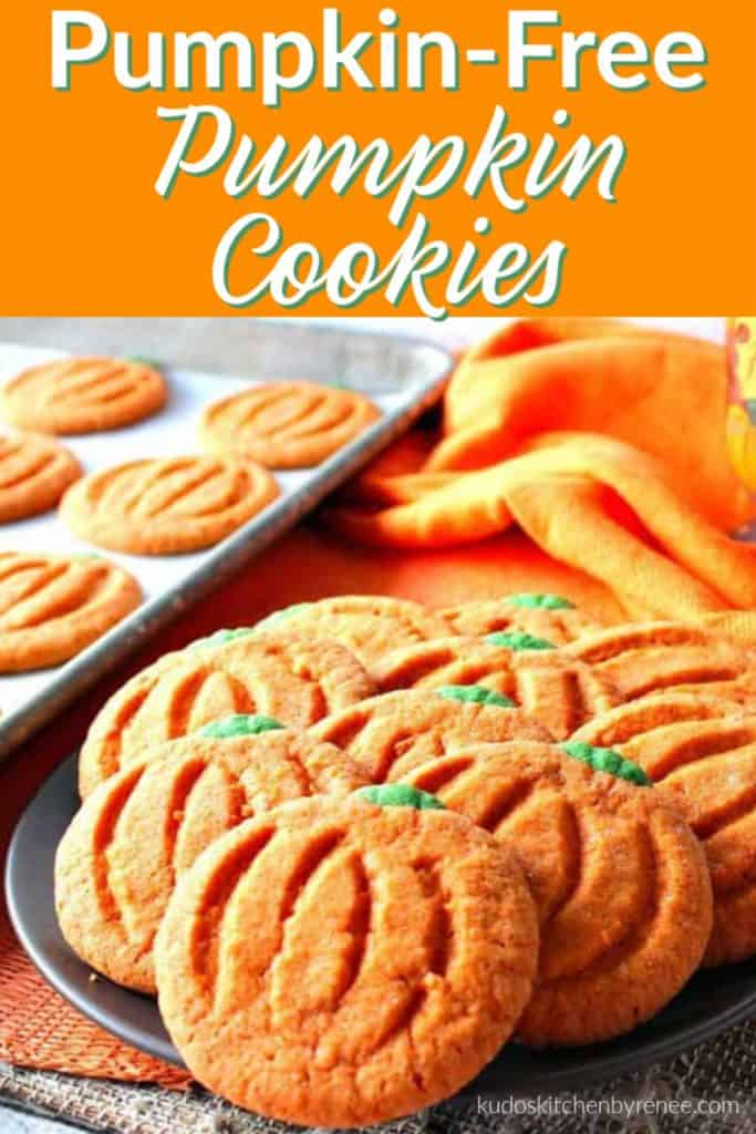 Vertical title text image of a closeup of pumpkin free pumpkin cookies on a plate.