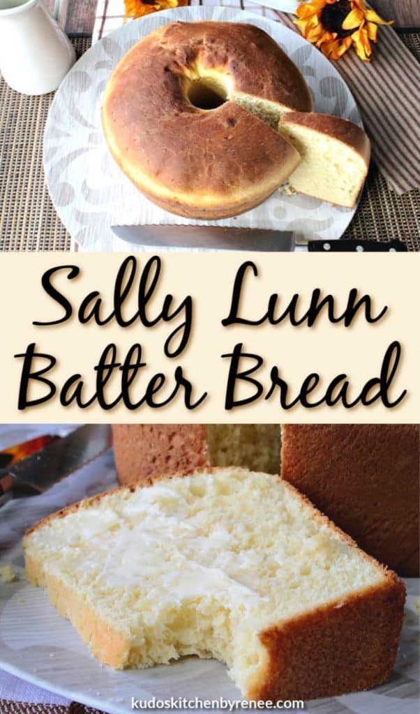 A vertical title text collage image of Sally Lunn Batter bread with butter and a serrated knife.