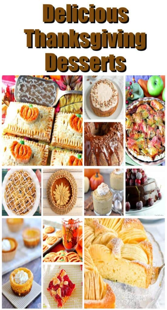 Vertical title text collage images of Thanksgiving desserts recipe roundup.